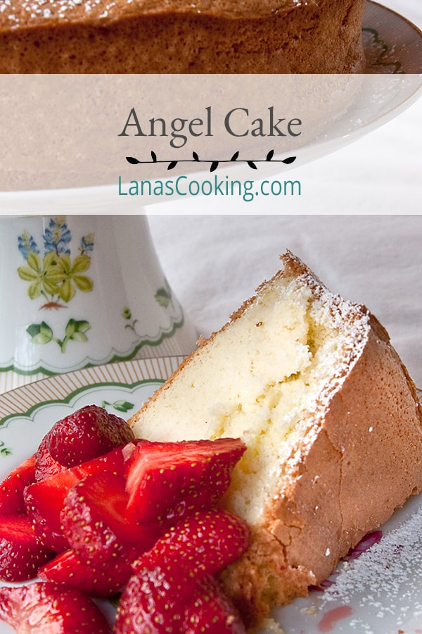 Angel Cake is a not too sweet, light as air cake that makes the perfect springtime dessert. Serve with fresh berries and whipped cream. From @NevrEnoughThyme https://www.lanascooking.com/angel-cake/