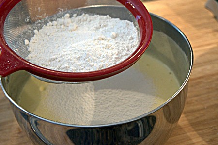 Sift flour into Angel Cake batter