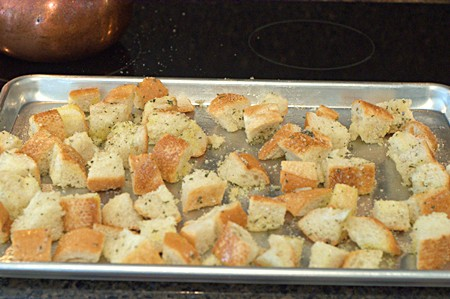 Homemade Croutons ready for oven