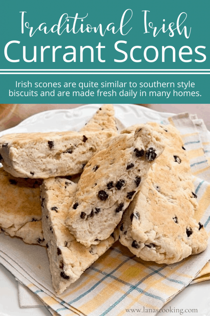 Irish Currant Scones - A traditional recipe for Irish cream scones with dried currants. From @NevrEnoughThyme https://www.lanascooking.com/irish-currant-scones/