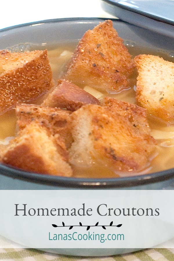 Homemade Croutons - don't spend your money on bags of croutons - make your own! Perfect for everything from soup to salad. From @NevrEnoughThyme https://www.lanascooking.com/homemade-croutons/