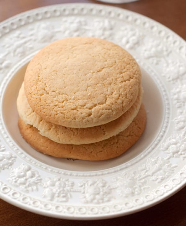 Old Fashioned Southern Teacakes on a white serving plate