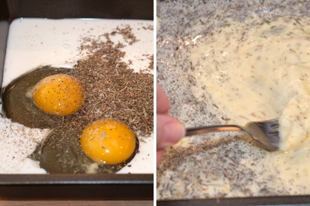 Egg and herb mixture for Savory French Toast