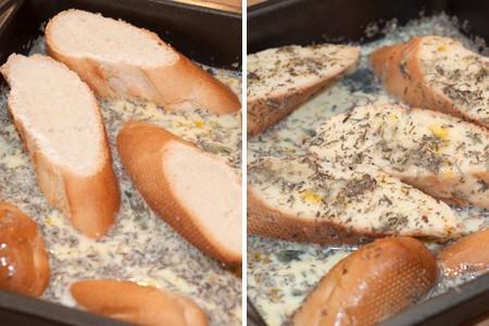 Bread soaking in egg mixture.