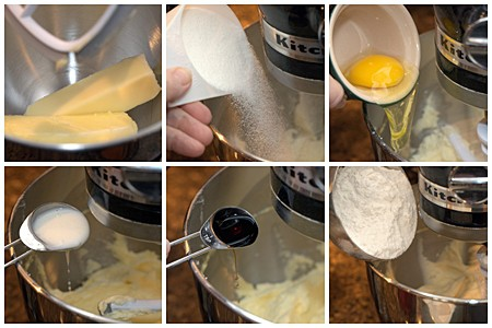 Photo collage showing ingredients being added sequentially to a stand mixer