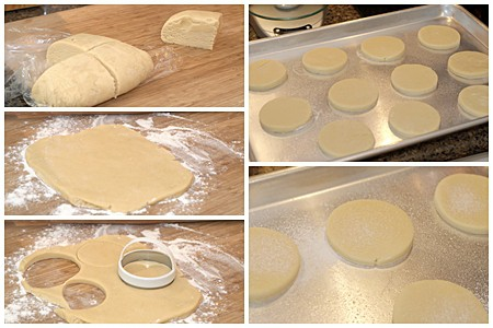 Photo collage showing the process of cutting out teacakes and placing on a baking sheet