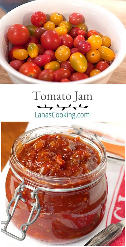 A sweet, spicy kicked up tomato jam - grown-up ketchup! Perfect accompaniment for everything from hamburgers and hot dogs to steaks and chicken. From @NevrEnoughThyme https://www.lanascooking.com/tomato-jam/