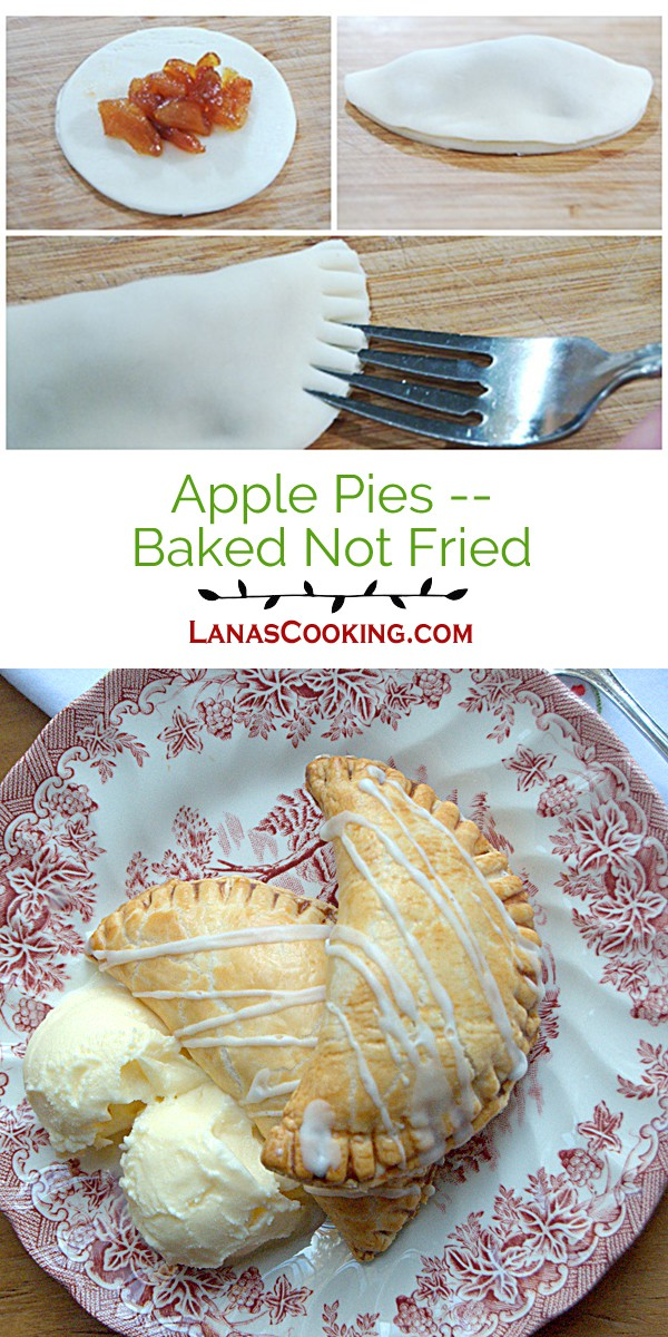 Apple Pies - Baked Not Fried. Individual, baked apple pies topped with a drizzle of sugar glaze. From @NevrEnoughThyme http://www.lanascooking.com/apple-pies-baked-not-fried/