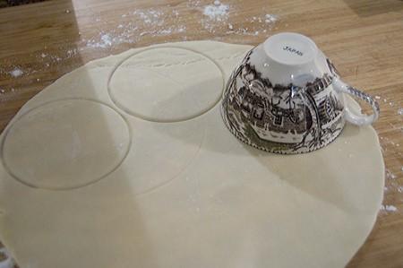 Cut small circles of pie crust