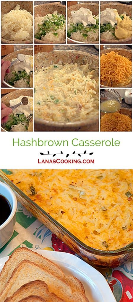 This Hashbrown Casserole is the centerpiece of a hearty breakfast. Full of shredded potatoes and cheese! https://www.lanascooking.com/hashbrown-casserole/