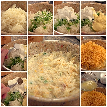 Combine all ingredients for Hashbrown Casserole