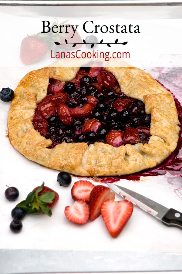 Berry Crostata - this mixed berry crostata combines strawberries and blueberries in a pie crust to create a free-form tart. https://www.lanascooking.com/berry-crostata/