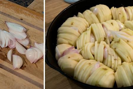 Adding shallots to Crispy Roasted Potatoes
