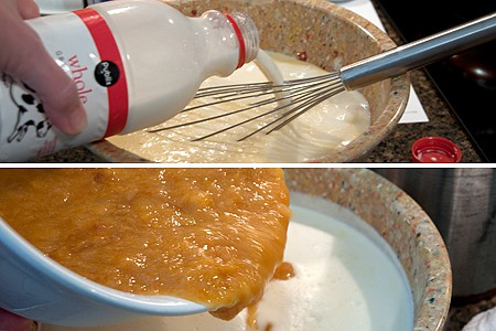 Adding milk and peaches to ice cream base