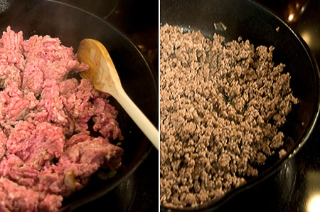 Browning ground beef in a frying pan.