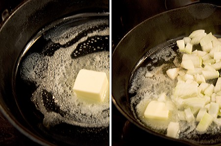 Onions sauteeing in butter.