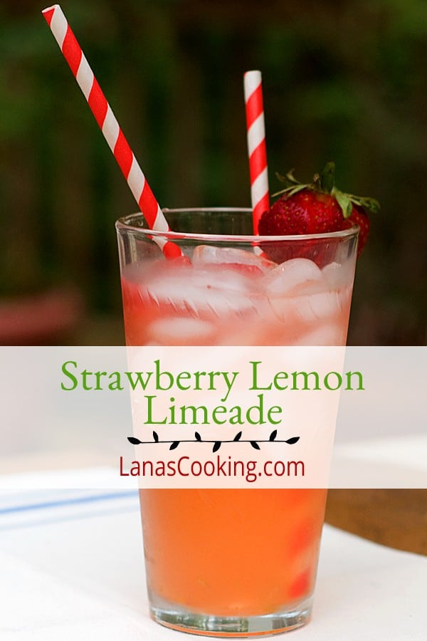 My Strawberry Lemon Limeade is a refreshing combination of sweetened strawberries with a tart-sweet lemon-limeade. A favorite for summertime parties. From @NevrEnoughThyme https://www.lanascooking.com/strawberry-lemon-limeade/