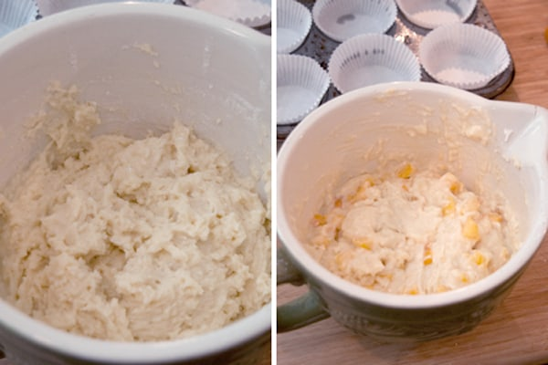 Wet and dry ingredients stirred together with the peaches.