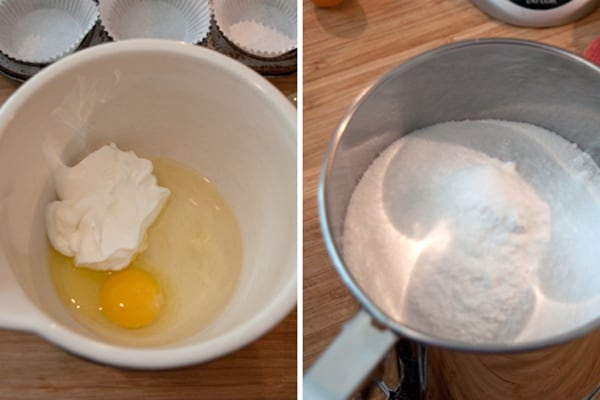 Wet ingredients (left) and dry ingredients (right).