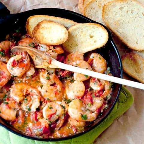 Cilantro Lime Shrimp - Shrimp sauteed in a cilantro-lime-tomato sauce with all the flavors of Mexico. From @NevrEnoughThyme http://www.lanascooking.com/cilantro-lime-shrimp/
