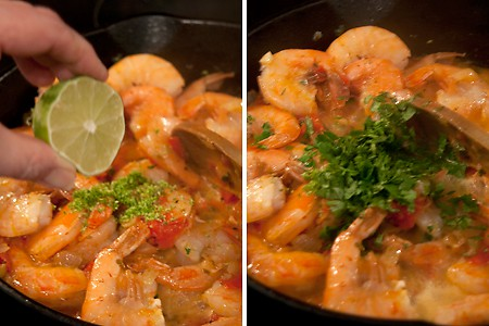 Add shrimp and lime juice for Cilantro Lime Shrimp