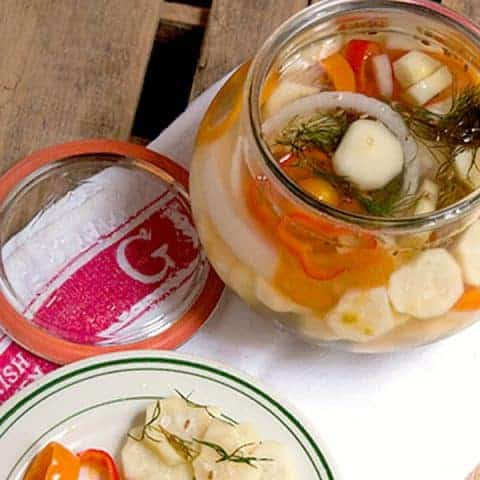 Refrigerator pickles are easy, quick pickled vegetables to store in the refrigerator. No canning process necessary. From @NevrEnoughThyme https://www.lanascooking.com/refrigerator-pickles/