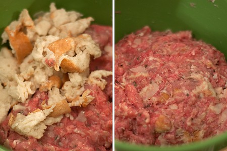 Baked Meatballs - mixing in the bread