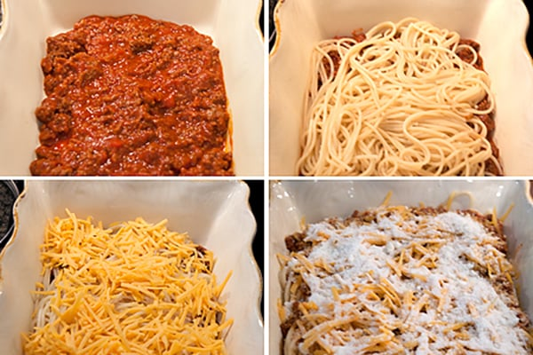 Kids and adults all like this Baked Spaghetti! Quick and easy to make for busy nights. From @NevrEnoughThyme https://www.lanascooking.com/baked-spaghetti/