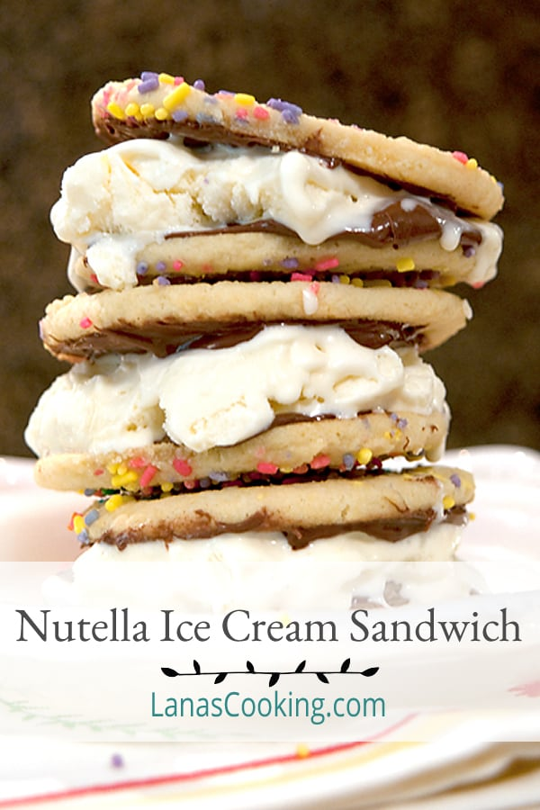 This Nutella Ice Cream Sandwich is the perfect treat for busy kids (and grown-ups, too!) on a hot summer afternoon. Quick to make and fun to eat. From @NevrEnoughThyme https://www.lanascooking.com/nutella-ice-cream-sandwich/