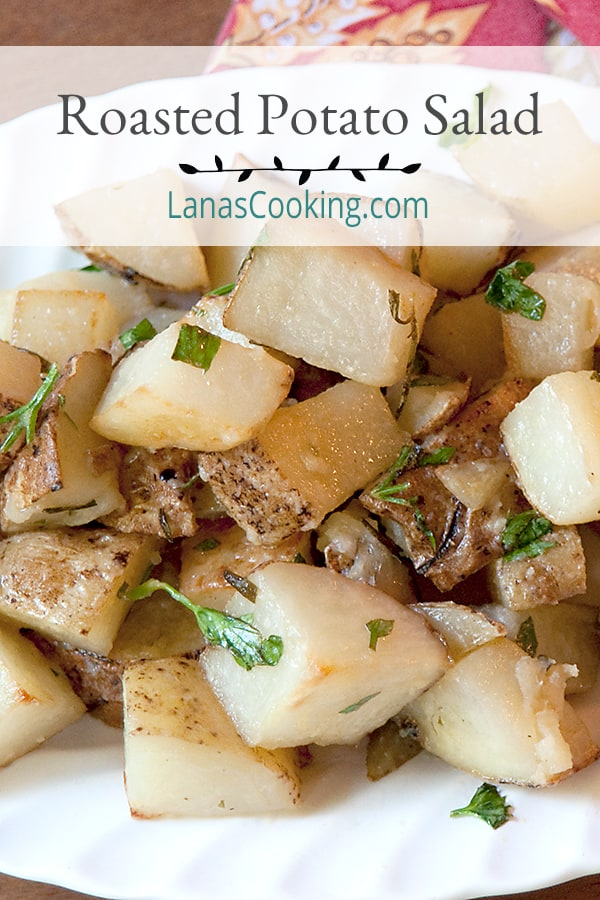 Roasted Potato Salad with Garlic and Rosemary tossed with dijon mustard and lemon juice. From @NevrEnoughThyme https://www.lanascooking.com/roasted-potato-salad/