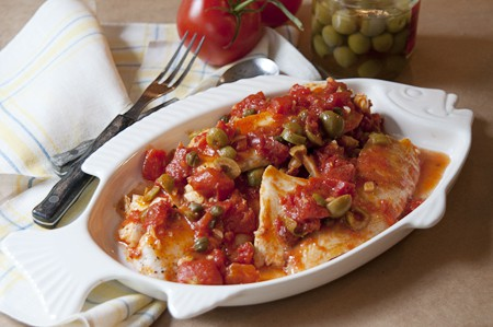 Tilapia with Tomato, Olive and Caper Sauce