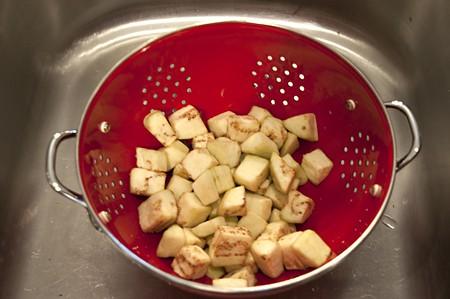 Draining eggplant for Tomato-Zucchini Tian