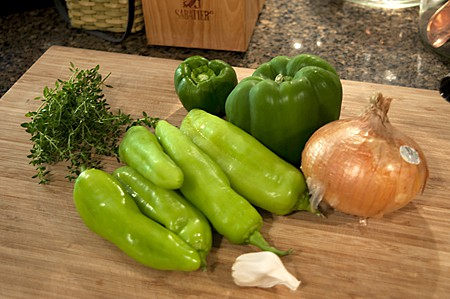 Veggies for Italian Sausage and Roasted Pepper Sandwich
