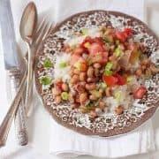 A serving of Hoppin' John on a dinner plate.