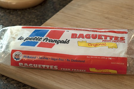 Package of frozen small baguettes