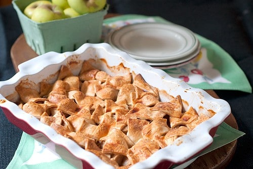 Apple Patchwork Cobbler - A cobbler containing apples, cinnamon, cardamom and orange liqueur topped with a patchwork style crust. From @NevrEnoughThyme http://www.lanascooking.com/apple-patchwork-cobbler