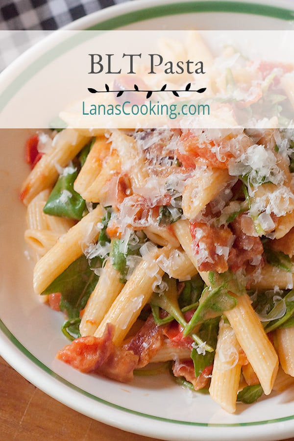 Bacon, Lettuce and Tomato (BLT) Pasta has all the elements of a BLT sandwich combined with penne pasta and a sprinkle of Parmesan cheese. From @NevrEnoughThyme https://www.lanascooking.com/bacon-lettuce-and-tomato-blt-pasta/