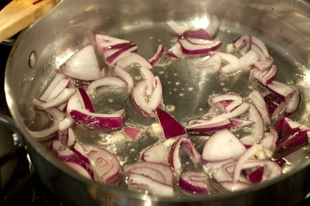 Cooking onions for BLT Pasta