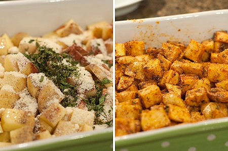 Mix everything together for Herbed Roasted Potatoes