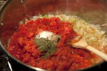 Tomato sauce cooking in a pot.