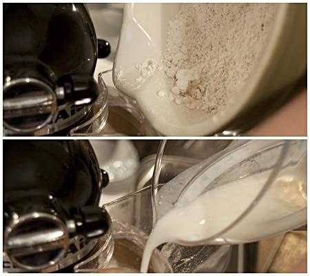 Adding flour and buttermilk to Glazed Pumpkin Pound Cake