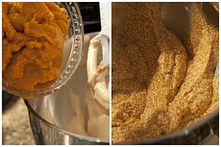 Adding pumpkin to Glazed Pumpkin Pound Cake