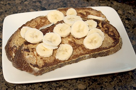Assembling Banana-Maple French Toast