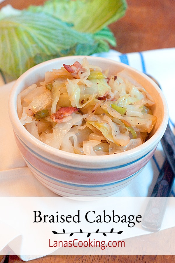 Braised Cabbage - Tender cabbage cooked with bacon and caraway seeds is easy to make and great for you. Excellent source of vitamin C. From @NevrEnoughThyme https://www.lanascooking.com/braised-cabbage/