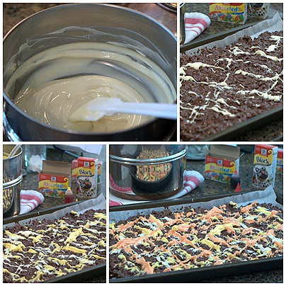 Making chocolate bark for Halloween fun