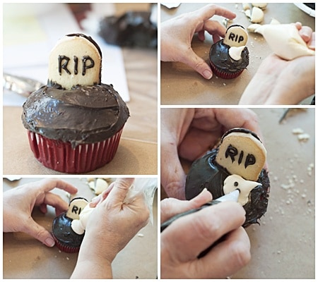 Making graveyard cupcakes