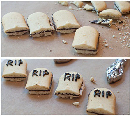 Making tombstones for graveyard cupcakes