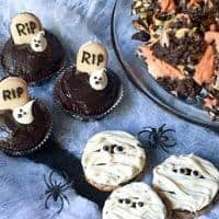 Three unique ideas for Kid-Friendly Halloween Fun including candy-corn colored chocolate bark, graveyard cupcakes and mummy cookies. https://www.lanascooking.com/kid-friendly-halloween-fun/