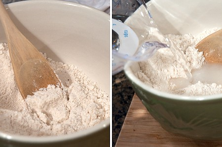 Salt, cornmeal, and water in a mixing bowl.