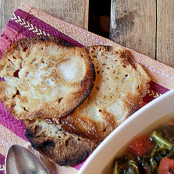 Lacy cornbread on a napkin.